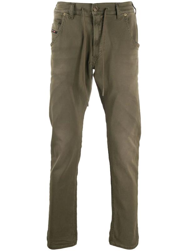 Diesel Krooley-e-ne Slim Straight Jeans In Olive In Green