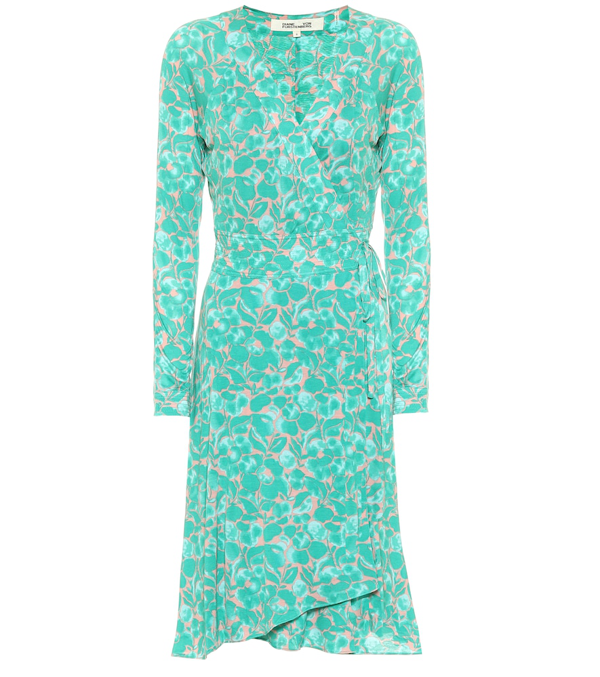 Diane Von Furstenberg Karina Printed Silk Crêpe Wrap Dress In Green