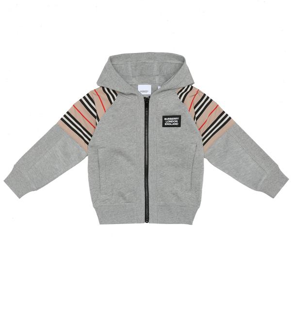 Burberry Boys' Hamilton Icon Stripe Hoodie - Little Kid, Big Kid In Grey
