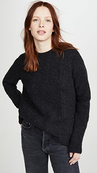 Acne Studios Kerna Fluffy Alpaca Knit Crewneck In Black