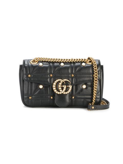 87ced9152879 Gucci Gg Marmont Matelasse Imitation Pearl Leather Shoulder Bag - Black