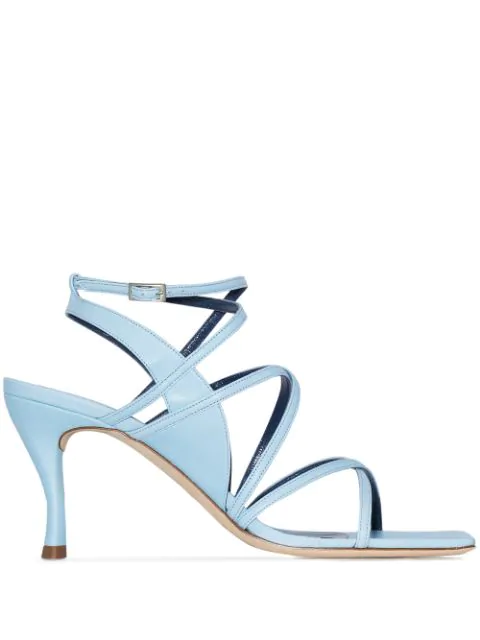 By Far Christina Leather Sandals In Blue