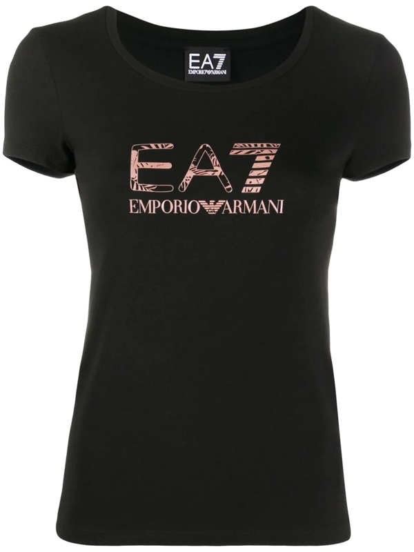 Ea7 Emporio Armani Logo-print Short Sleeved T-shirt In Black