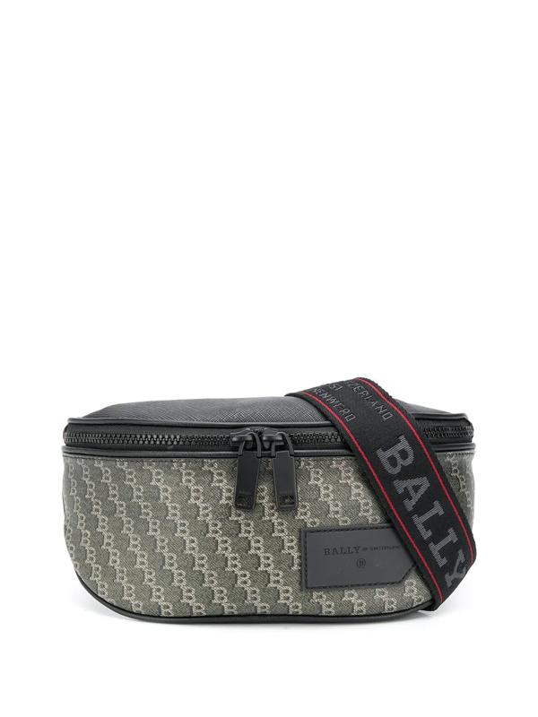 Bally All-over Logo Print Belt Bag In Black