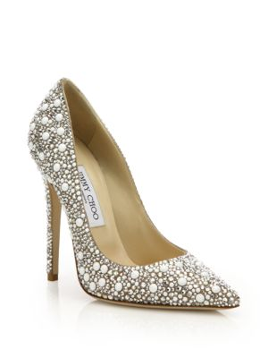 5be6e5b6031 Jimmy Choo Abel White Suede With Crystal Mix Pointy Toe Pumps