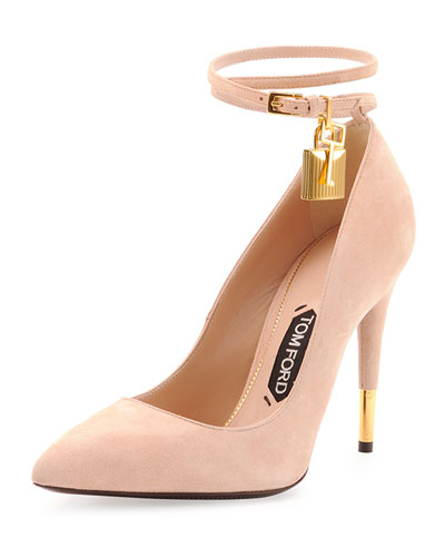 Tom Ford Suede Ankle-Lock Pump In Wild Rose