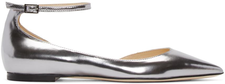 Jimmy Choo Lucy Flat Steel Mirror Leather Pointy Toe Flats