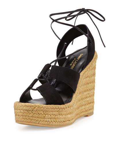 Saint Laurent Black 95 Espadrille Suede Wedges
