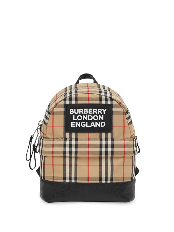Burberry Kids' Check Cotton Canvas Backpack In Brown