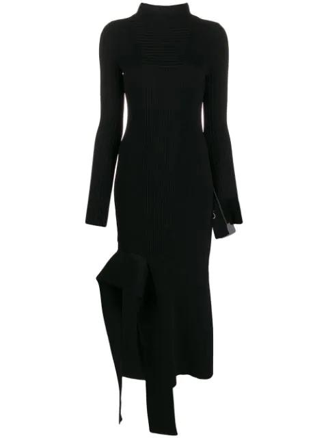 Off-white Asymmetric Viscose Blend Rib Knit Dress In Black