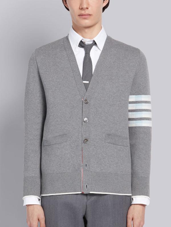 Thom Browne Lion Motif Jacquard Cardigan In Grey