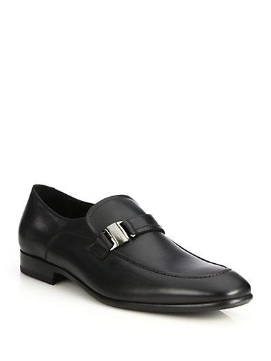 Salvatore Ferragamo Mattia Leather Loafers In Black