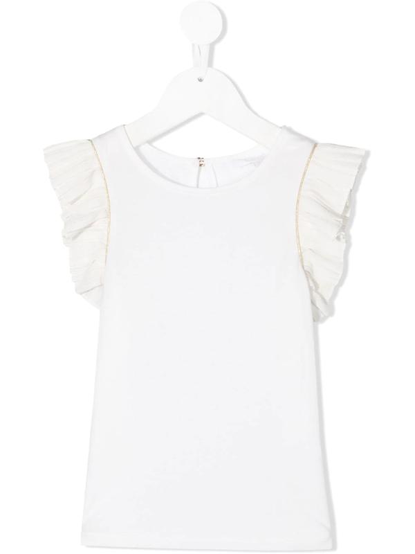 Chloé Kids' Ruffled Sleeve T-shirt In White