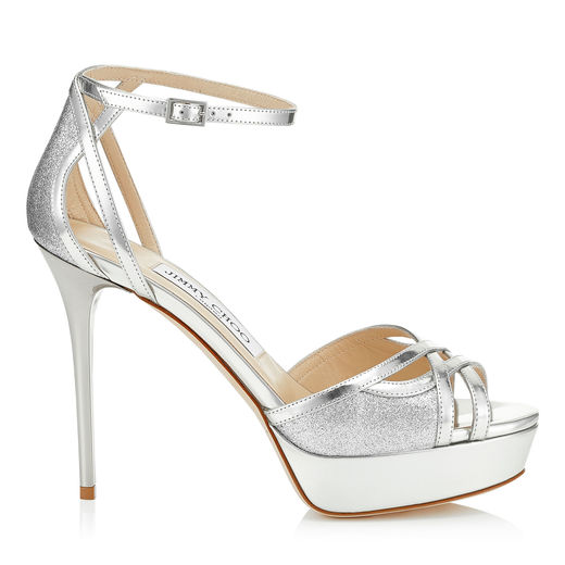 cec613ad4dd5 Jimmy Choo Laurita 115 Silver Mirror Leather And Fine Glitter Platform  Sandals In Silver Silver