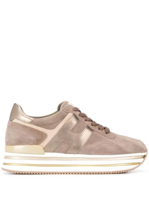 Hogan Midi Platform Leather Sneakers In Brown