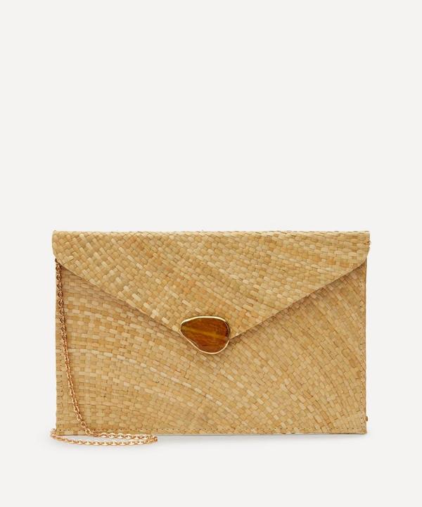 Kayu Capri Straw Envelope Clutch Bag In Neutral