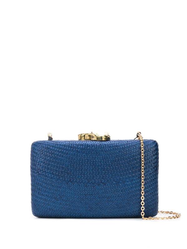 Kayu Jen Straw Clutch Bag In Blue