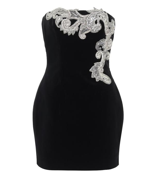 Balmain Crystal Paisley Embellished Strapless Minidress In Black