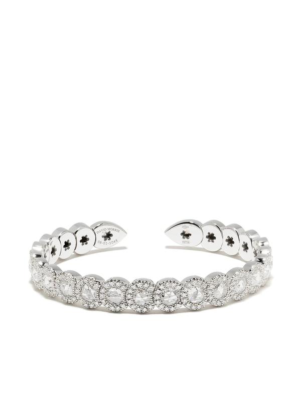 David Morris 18kt White Gold Diamond Rose Cut Flexible Cuff Bracelet