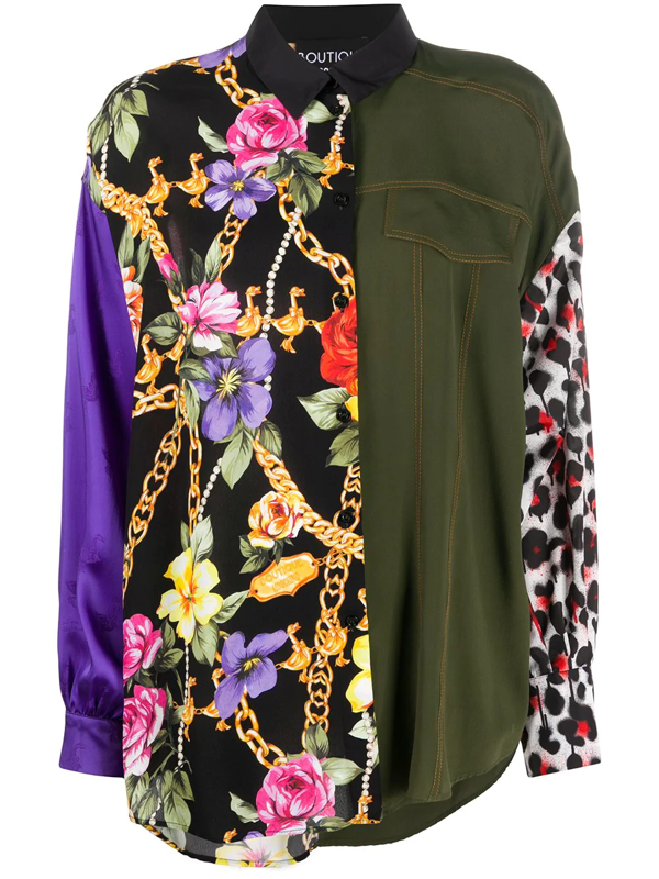 Boutique Moschino Patchwork Silk Blouse In Green