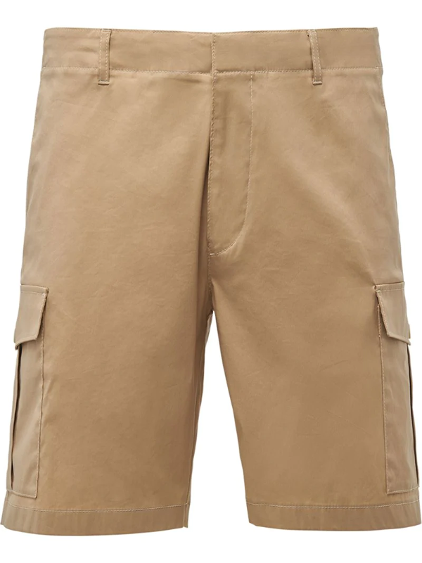 Prada Side Pocket Bermuda Shorts In Neutrals