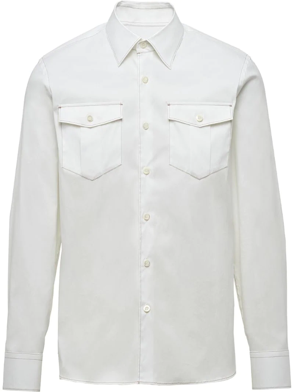 Prada Chest Pockets Buttoned Shirt In White