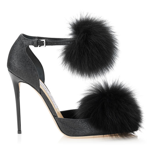 135cf69becb Jimmy Choo Dolly 110 Black Fine Glitter Pointy Toes With Fox Fur Pom Poms