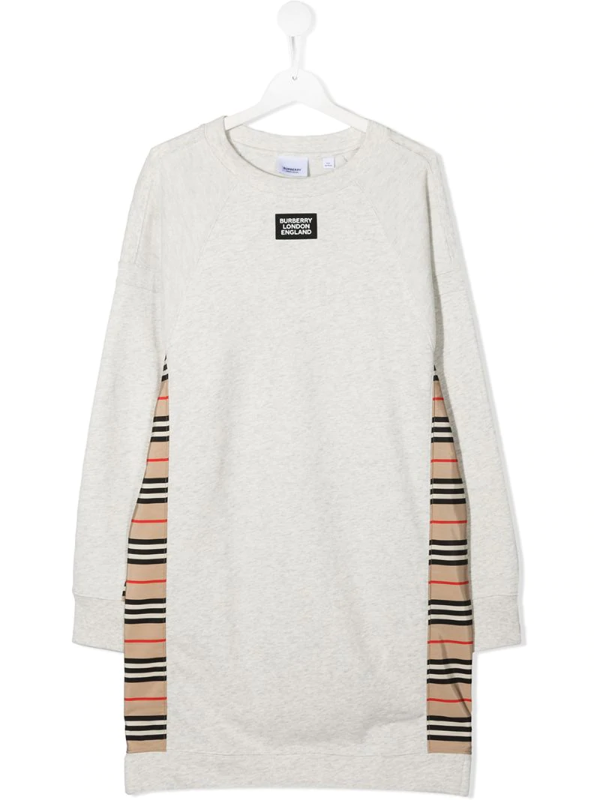 Burberry Kids' Cotton Sweatshirt Dress W/ Check Insert In Grey