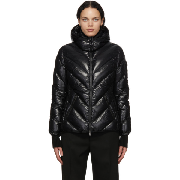 Moncler Brouel Water Resistant Lacquered Down Puffer Coat In Black