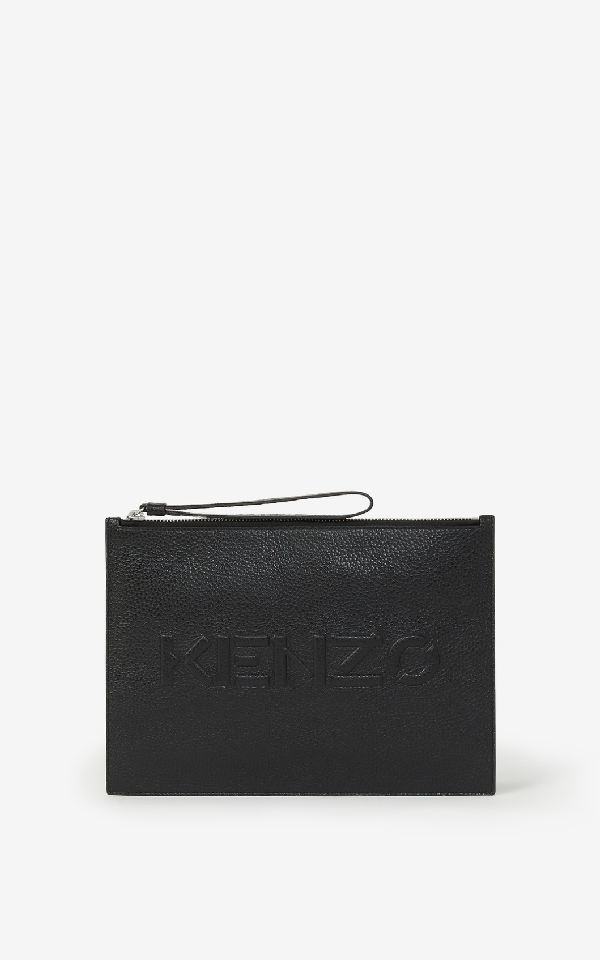 Kenzo Imprint Large Grained Leather Pouch In Black