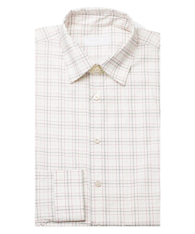 Prada Men's Spread Collar Plaid Cotton Stretch Dress Shirt White