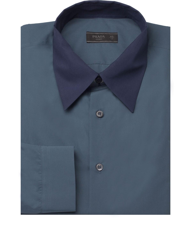 Prada Men's Contrasting Pointed Collar Cotton Dress Shirt Navy In Blue