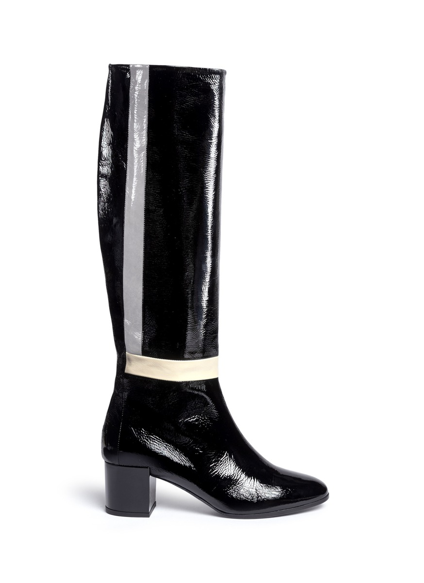 Pierre Hardy Stripe Crinkle Patent Leather Knee High Boots In Black