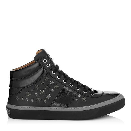 Jimmy Choo Belgravia Black Nappa Sneakers With Gunmetal Stars In Black/gunmetal