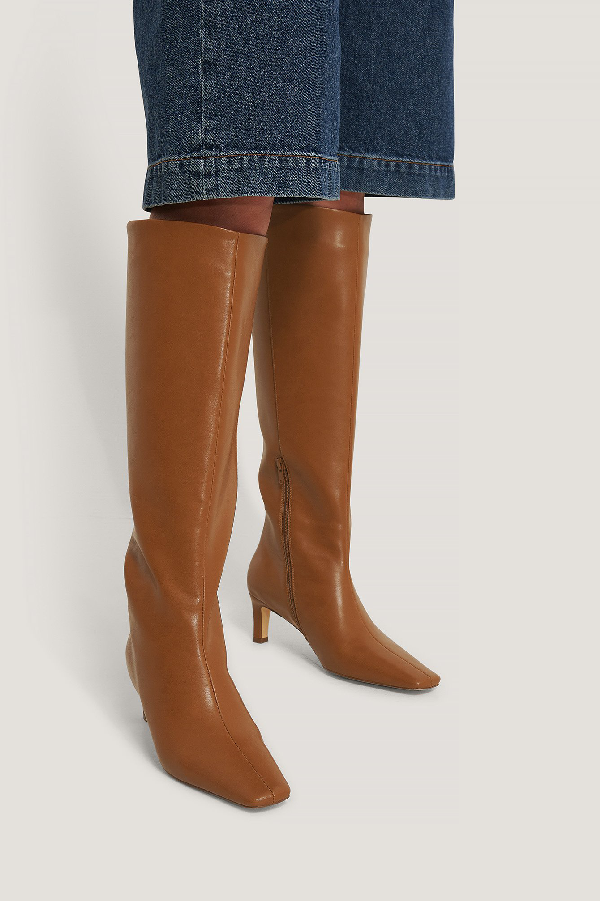 Na-kd Squared Long Toe Shaft Boots Brown