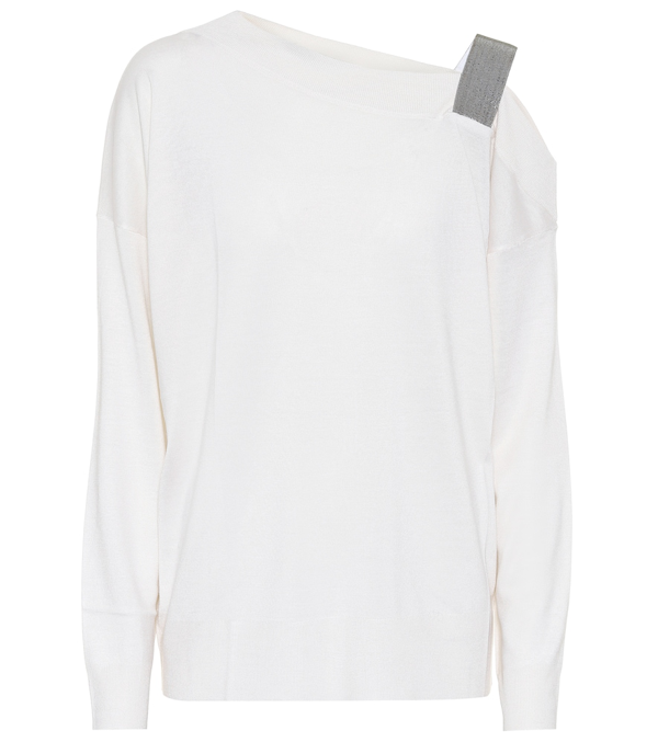 Brunello Cucinelli Embellished Cashmere And Silk Sweater In White