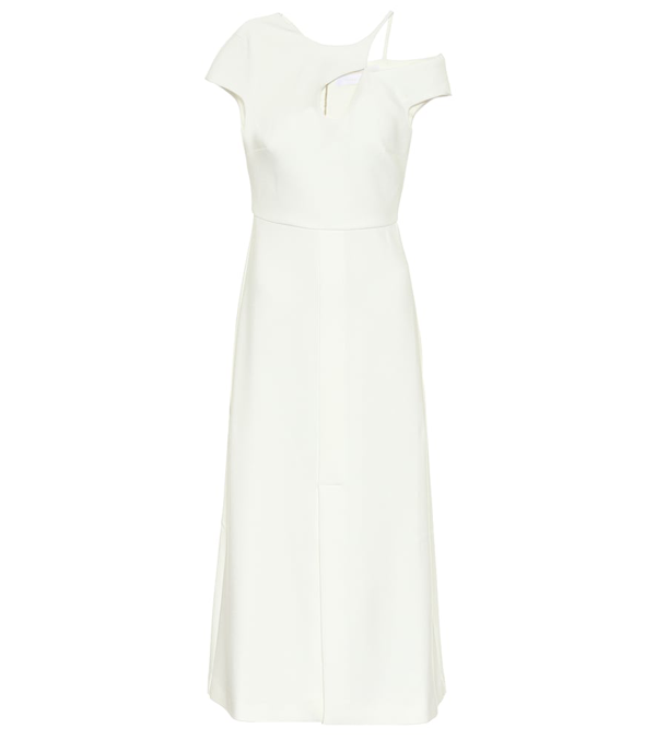 Roland Mouret Thean Crêpe Midi Dress In White