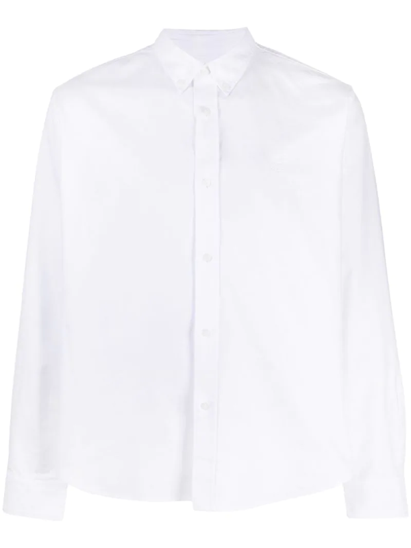 Kenzo White Tiger-embroidered Cotton Shirt