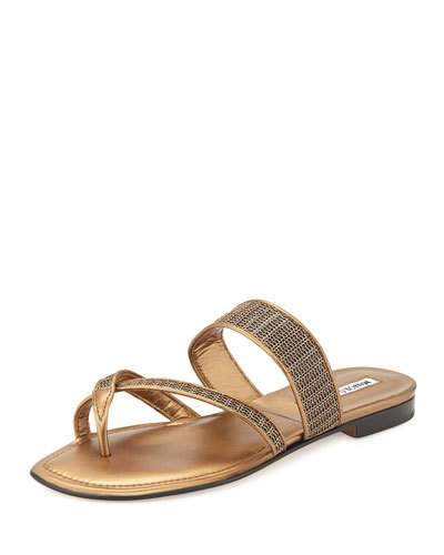 Manolo Blahnik Susametal Woven Thong Sandal, Copper Bronze