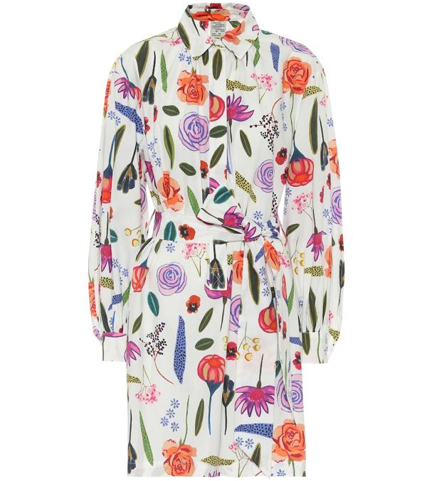 Baum Und Pferdgarten Aubre Floral-print Cotton Shirt Dress In White