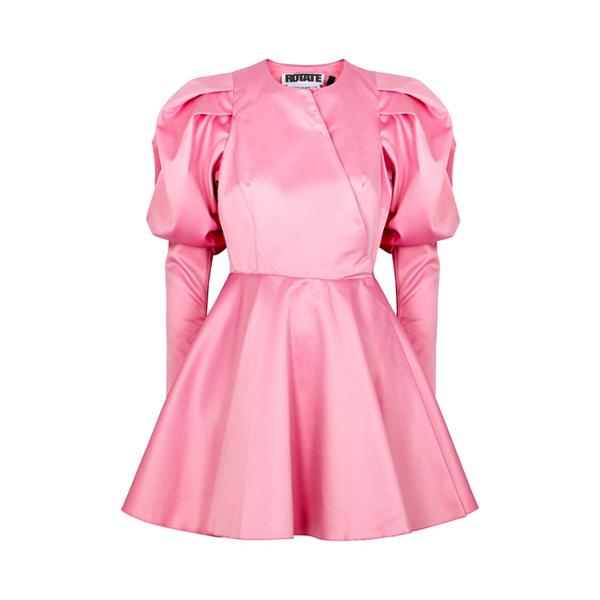 Rotate Birger Christensen Women's Pauline Puff-sleeve Satin Mini Dress In Pink