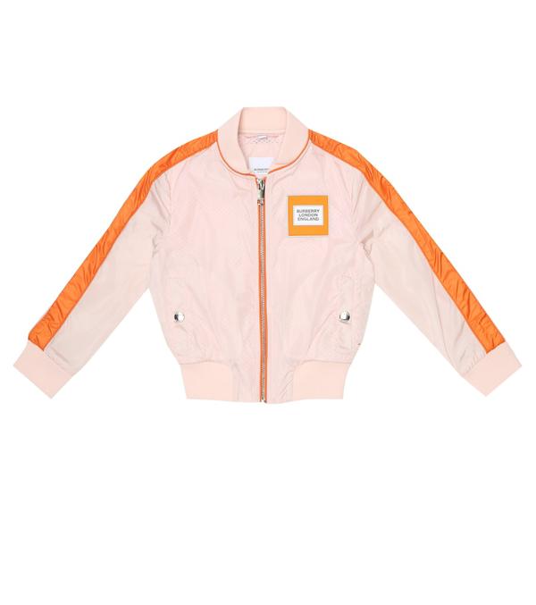 Burberry Kids' Unicorn Print Contrast Trim Bomber Jacket In Pink