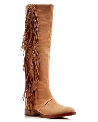Sam Edelman Josephine Fringe Tall Boots In Golden Caramel