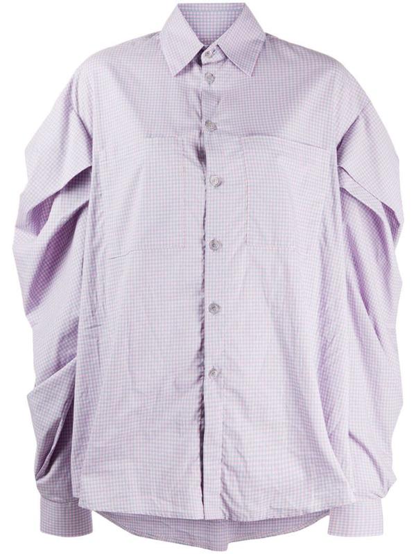 Natasha Zinko Pleated Check Print Shirt In Pink