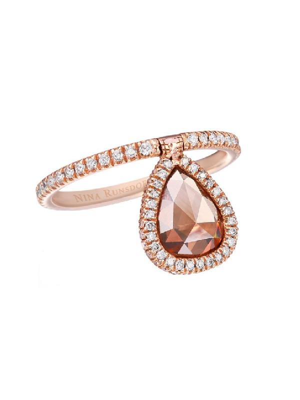Nina Runsdorf Rose-cut Brown Diamond Flip Ring In Gold