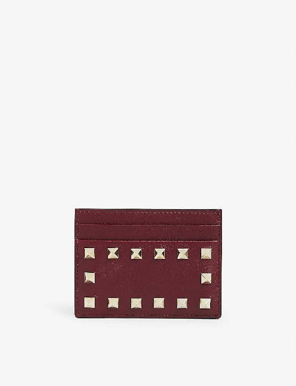 Valentino Garavani Rockstud-embellished Leather Card Holder