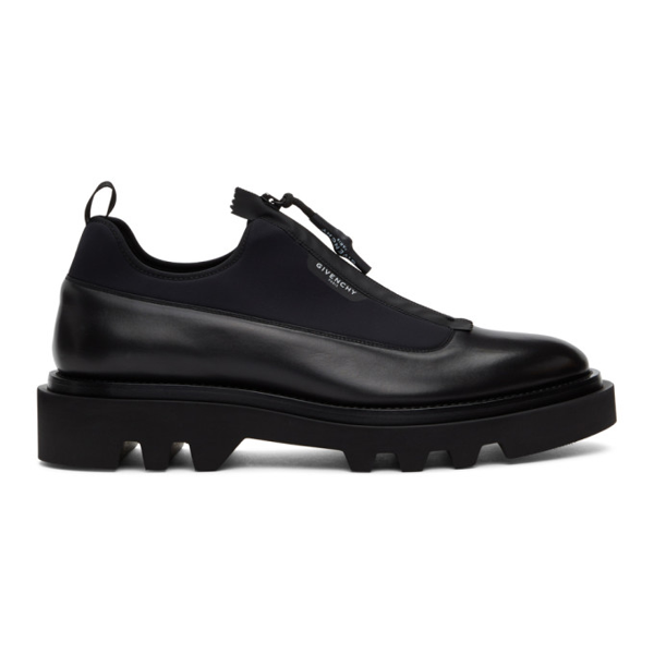 Givenchy Zipped Leather And Neoprene Shoes In 001-black