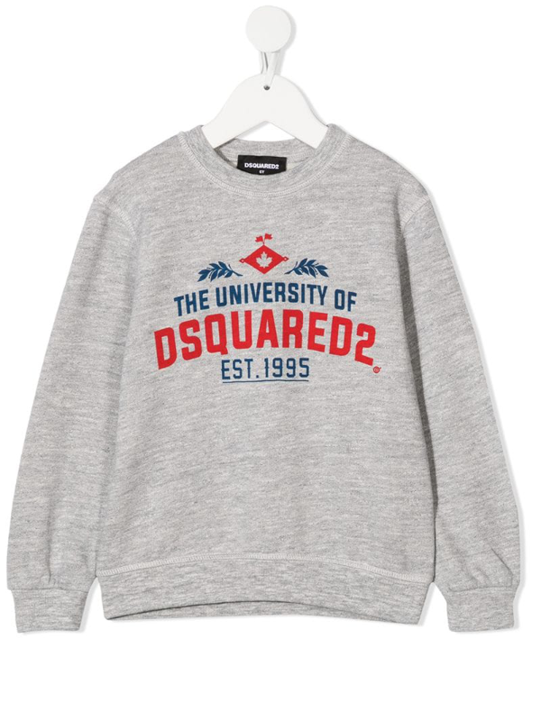Dsquared2 Kids' University Printed Cotton Sweatshirt In Grey