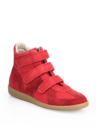 Maison Margiela Triple-strap Suede High-top Sneakers In Red