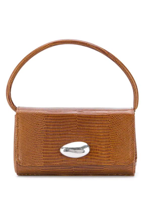 Little Liffner Baguette Embossed Top Handle Bag In Brown